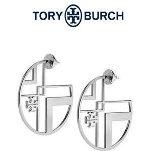 ■ Tory Burch■ Silver Chevron Cutout Hoop Earrings